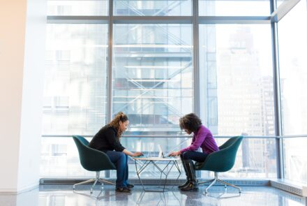 Mentoring conversation between two ladies