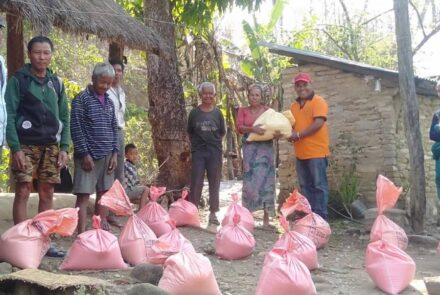 Bags of food for Chepang tribe